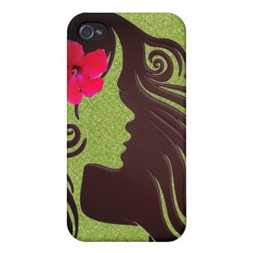 Hawaiian Themed Cool Chic Retro Girly Green Flower phone case. Cover For iPhone 4