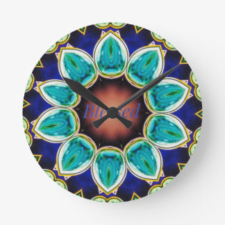 Cool Chic Turquoise Rose 'Blessed' Mandala Round Clock