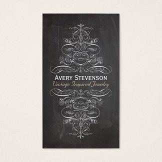 Cool Chic Vintage Rustic Black Chalkboard Business Card
