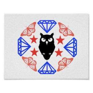 Cool Chic Whimsical Vintage Owl Mandala Poster