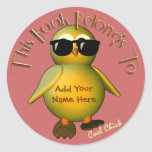 Cool Chick Bookplate Round Stickers