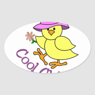 Cool Chick Oval Sticker