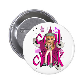 cool chick pin button, badge, with girl stars shoe