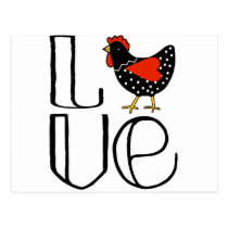Cool Chicken Love Art Postcard
