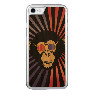Cool Chimpanzee In 3D Glasses Carved iPhone 7 Case