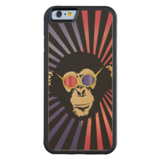 Cool Chimpanzee In 3D Glasses Carved Maple iPhone 6 Bumper Case