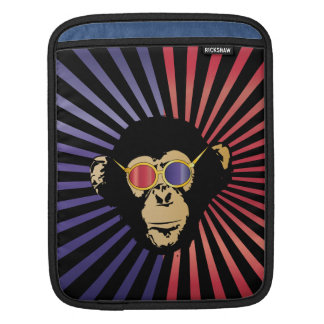 Cool Chimpanzee In 3D Glasses Sleeve For iPads
