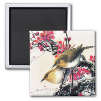 Cool chinese beautiful brown bird red cherry tree 2 inch square magnet