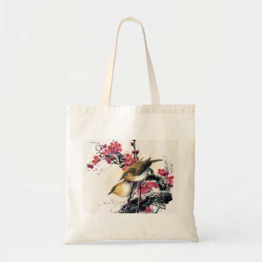 Cool chinese beautiful brown bird red cherry tree canvas bags