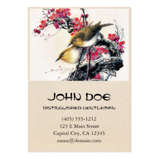 Cool chinese beautiful brown bird red cherry tree business card template