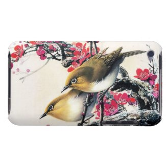 Cool chinese beautiful brown bird red cherry tree iPod touch cases