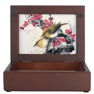 Cool chinese beautiful brown bird red cherry tree memory boxes