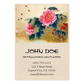 Cool chinese classic watercolor pink flower bee business card templates
