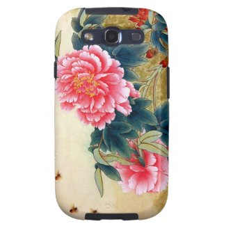 Cool chinese classic watercolor pink flower bee samsung galaxy s3 cases
