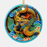 Cool chinese colourful dragon lotus flower art ceramic ornament