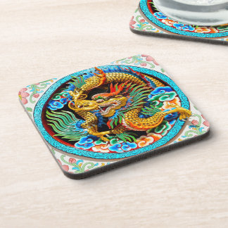 Cool chinese colourful dragon lotus flower art beverage coaster