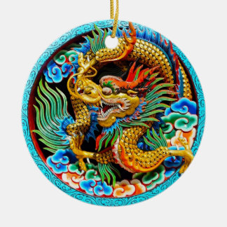 Cool chinese colourful dragon lotus flower art Double-Sided ceramic round christmas ornament