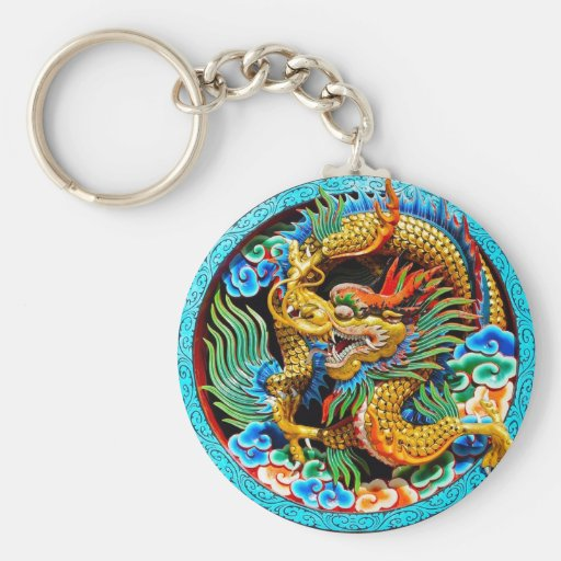 Cool chinese colourful dragon lotus flower art key chain
