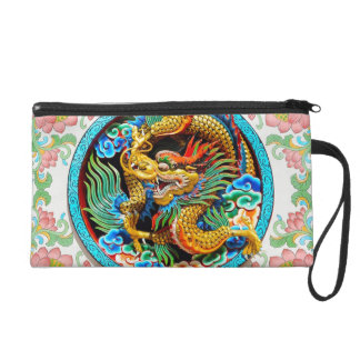 Cool chinese colourful dragon paint lotus flower wristlet clutches