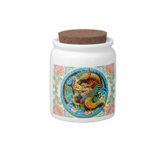 Cool chinese colourful dragon paint lotus flower candy jar