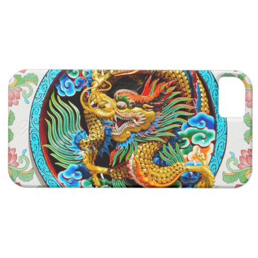 Cool chinese colourful dragon paint lotus flower iPhone 5 cover