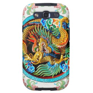 Cool chinese colourful dragon paint lotus flower galaxy s3 cover
