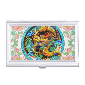 Cool chinese colourful dragon paint lotus flower case for business cards
