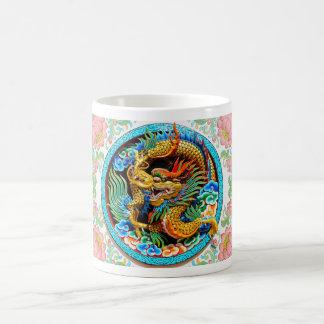 Cool chinese colourful dragon paint lotus flower coffee mug