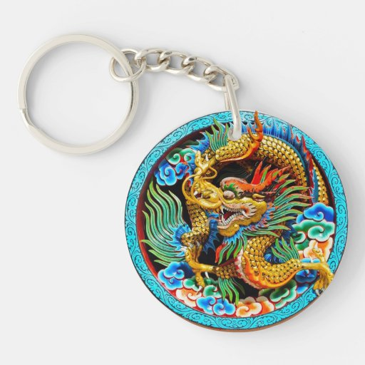 Cool chinese colourful dragon paint lotus flower keychain