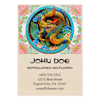 Cool chinese colourful dragon paint lotus flower large business card