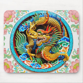 Cool chinese colourful dragon paint lotus flower mouse pad