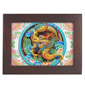 Cool chinese colourful dragon paint lotus flower memory box