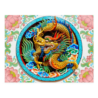 Cool chinese colourful dragon paint lotus flower postcard