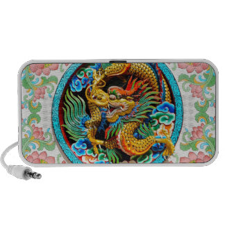 Cool chinese colourful dragon paint lotus flower notebook speaker