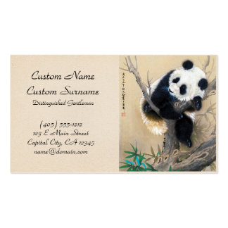 Cool chinese cute sweet fluffy panda bear tree art business card