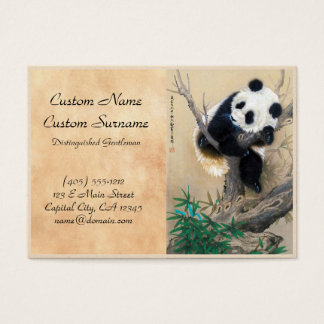Cool chinese cute sweet fluffy panda bear tree art business card