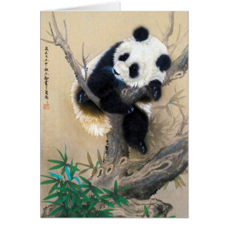 Cool chinese cute sweet fluffy panda bear tree art card