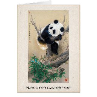 Cool chinese cute sweet fluffy panda bear tree art card