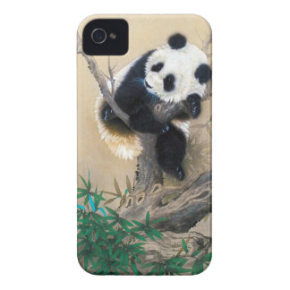 Cool chinese cute sweet fluffy panda bear tree art Case-Mate iPhone 4 cases