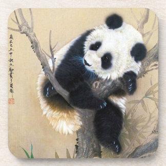 Cool chinese cute sweet fluffy panda bear tree art beverage coaster