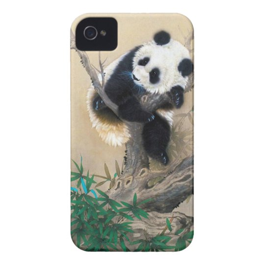Cool chinese cute sweet fluffy panda bear tree art iPhone 4 case