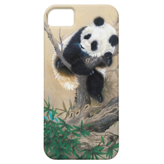 Cool chinese cute sweet fluffy panda bear tree art iPhone SE/5/5s case