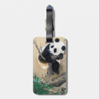 Cool chinese cute sweet fluffy panda bear tree art tags for bags