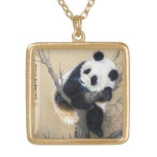 Cool chinese cute sweet fluffy panda bear tree art square pendant necklace