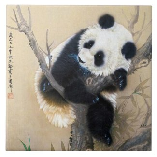 Cool chinese cute sweet fluffy panda bear tree art ceramic tile