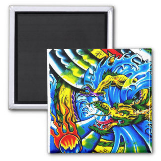 Cool chinese dragon god burning orb tattoo art 2 inch square magnet