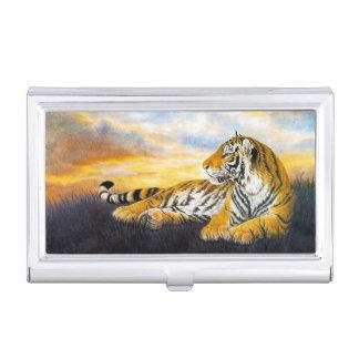 Cool chinese fluffy cat tiger rest vintage art business card holder