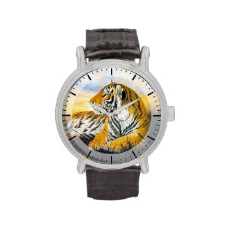Cool chinese fluffy cat tiger rest vintage art watches