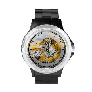 Cool chinese fluffy cat tiger rest vintage art watch
