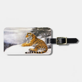 Cool chinese fluffy tiger rest snow cliff winter travel bag tags